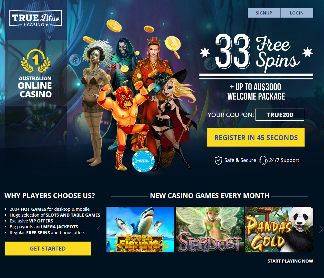 True Blue Casino offers